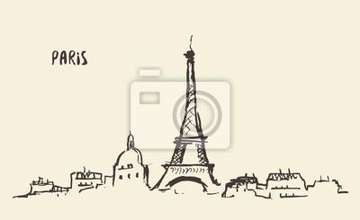 Sticker Croquis de la Tour Eiffel Paris, illustration vectorielle.