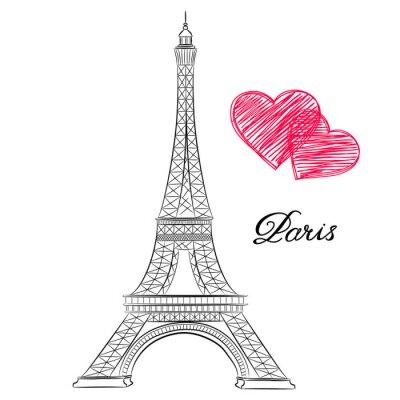 Sticker Croquis de Paris, Tour Eiffel avec des coeurs. Illustration vectorielle