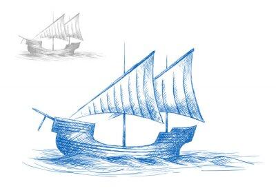 Sticker Croquis de vieux gréement médiévale