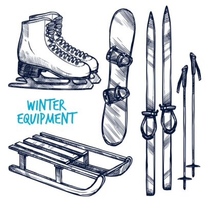 Sticker Croquis Sport d'hiver Objets
