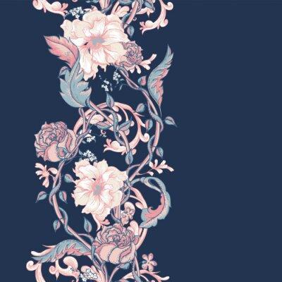 Sticker Cru, seamless, frontière, fleurir, magnolias, roses, brindilles
