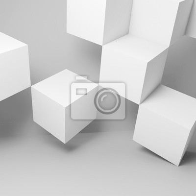 Cubes installation in empty room. 3d