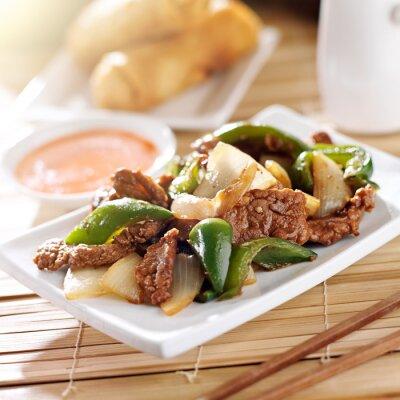 Sticker Cuisine chinoise - boeuf au poivre au restaurant