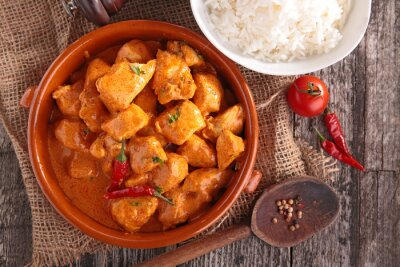 Sticker curry chicken with sauce and rice