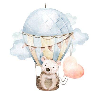 Sticker Cute cartoon baby bear animal hand drawn watercolor bunny illustration with air balloon. kids nursery wear fashion design, baby shower invitation card.