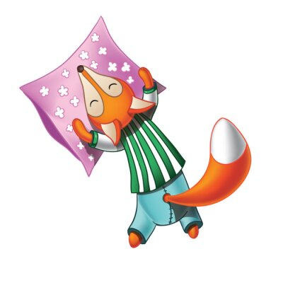 Sticker Cute cartoon fox en pyjama dort