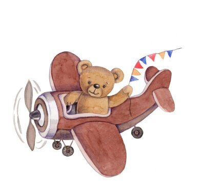 Sticker Cute cartoon toy animal teddy bear in plane, watercolor illustration, hand draw, isolated on white.