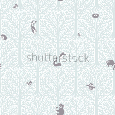 Sticker Cute forest with animals and birds. Great decor and wallpaper for baby, kids and nursery room in Scandinavian style. Vector seamless pattern. Cute Nordic background with forest animals in the woods