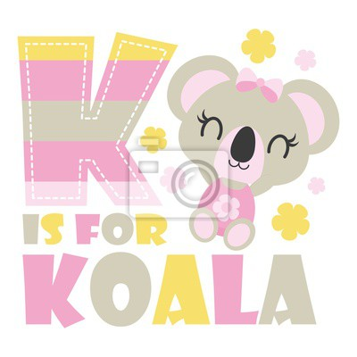 Sticker Cute Koala Bebe Avec K Colore Alphabet Illustration Dessin Animee