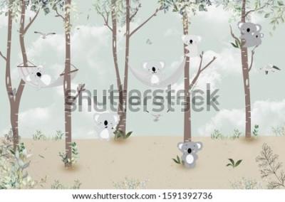 Sticker Cute koalas playing in the jungle
