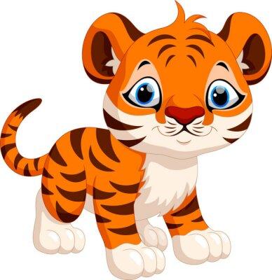 Sticker Cute tigre de bande dessinée