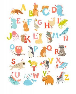 Sticker Cute vecteur zoo alphabet. Animaux drôles de bande dessinée. Vector Illustration EPS10 isolé sur fond blanc. Des lettres. Apprendre à lire