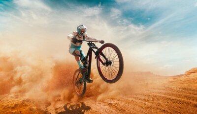 Sticker Cycliste à vélo. Une descente.