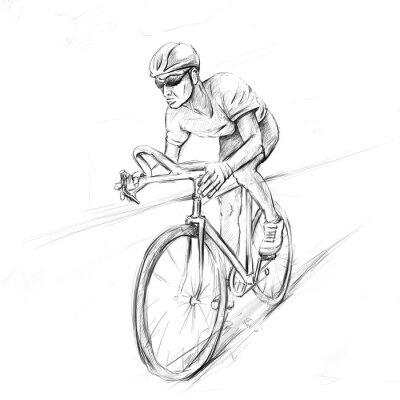 Sticker cycliste de course