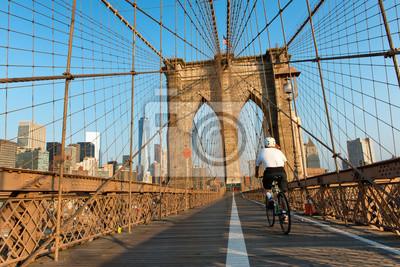 Cycliste, équitation, Brooklyn, pont, piéton, sentier