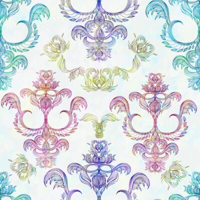 Sticker Damassé, seamless, floral, modèle Papier peint royal. Fleurs sur un fond de rose. EPS 10