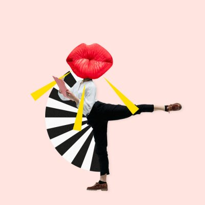 Sticker Dancing office woman in classic suit like a ballet dancer headed by the big red female lips against trendy coral background. Negative space to insert your text. Modern design. Contemporary art collage