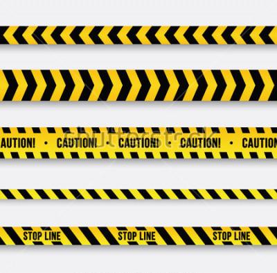 Sticker Danger et ligne de police. Ruban d'avertissement jaune. Illustration vectorielle