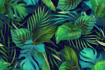 Sticker Dark pattern with exotic leaves