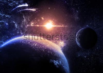 Sticker Dark Planet et la lune sur une étoile brillante - Éléments de cette image fournie par la NASA