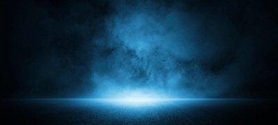 Sticker Dark street, asphalt abstract dark blue background, empty dark scene, neon light, spotlights The concrete floor and studio room with smoke float up the interior texture for display products