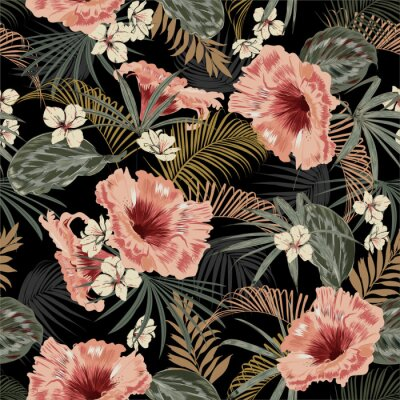 Sticker Dark tropical forest at night seamless pattern wallpaper vintage mood leaves of palm trees and exotic of flowers design for fashion,fabric,web,wallpeper,and all prints