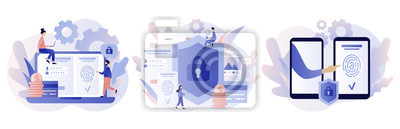 Sticker Data protection concept. Scan Fingerprint, Identification system. Modern flat cartoon style. Vector illustration