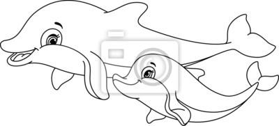 Sticker Dauphins page à colorier