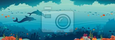 Sticker Dauphins, récifs coralliens, poissons et mer sous-marine.