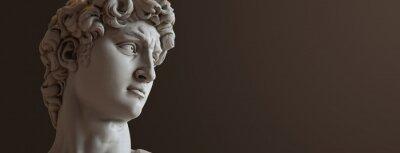 Sticker David sculpture by Michelangelo. Close up with dark background. (left version)