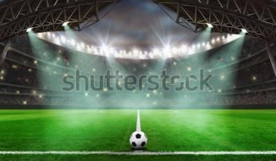 Sticker début du match de football - Ballon de football dans le stade