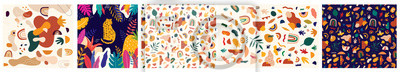 Sticker Decorative abstract collection with colorful doodles. Hand-drawn modern illustration