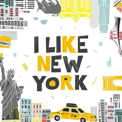 Sticker Decorative banner with symbols and attractions and the words I love New York. Postcard for tourists, travel guides, invitations. Poster for wall decoration in the room, classroom. Vector illustration.