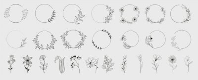 Sticker Decorative round floral frames made of blooming flowers hand drawn with contour lines on white background. Vintage laurel wreaths collection. Set of circular natural design element.Vector illustration