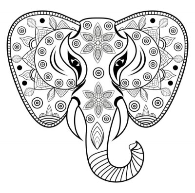 Sticker Décoré, éléphant, tête, vecteur, testa, elefante, décoration, vettoriale, isolé, sfondo, bianco