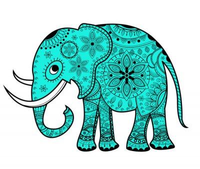 Sticker Décoré vecteur éléphant, elefante vettoriale decorato