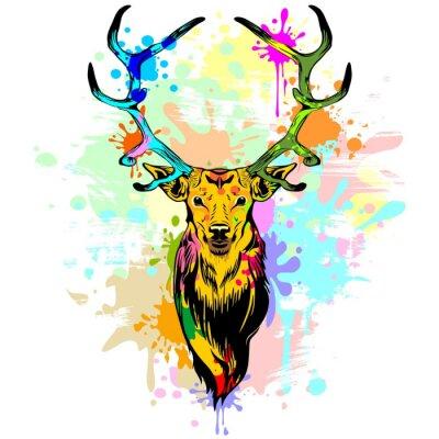 Sticker Deer, PopArt Dripping Peinture