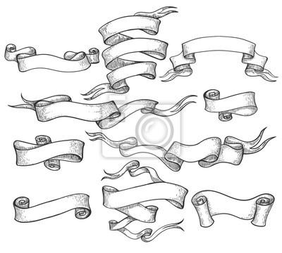 Sticker Défilement croquis. Bannière dessiné main vintage et rubans de tourbillon esquissés vector illustration