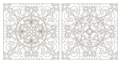 Sticker Définir des illustrations de contour de vitrail avec des tourbillons abstraits et des fleurs, image carrée