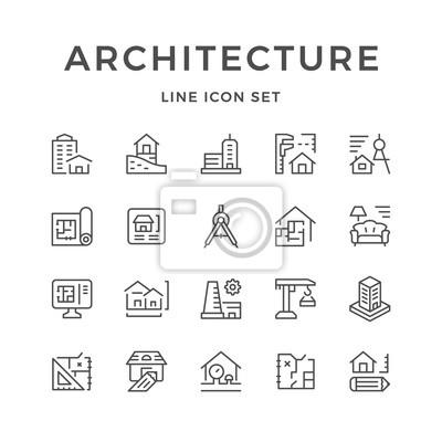 Sticker Définir les icônes de ligne de l'architecture