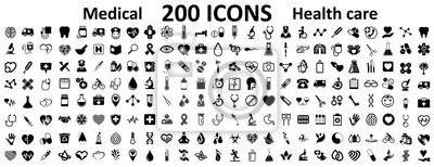 Sticker Définissez 200 icônes plats Médecine et santé. Icônes de signe médical collection soins de santé - pour stock