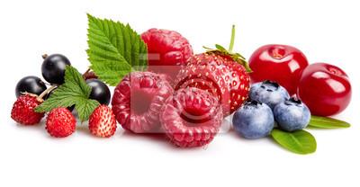 Sticker Définissez les baies fraîches. Mélange de fruits d'été framboise, fraise et cassis