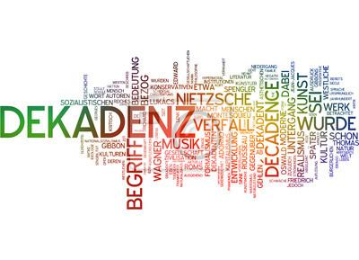 """""""Dekadenz"""" - Parole Balises auf weißem Hintergrund"""