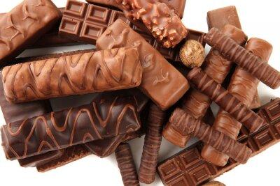 Sticker Délicieuses barres de chocolat avec des noix de près
