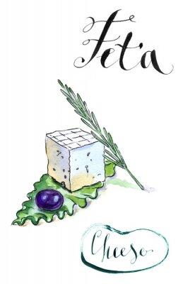 Sticker Délicieux, tranché, Grec, feta, fromage, olive, romarin, sala