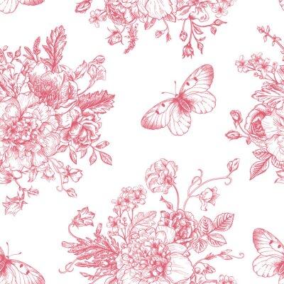 Sticker Des fleurs et des papillons Seamless.