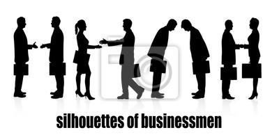 des silhouettes de gens d'affaires réunion