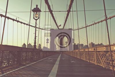 Désert, piéton, promenade, sur, brooklyn, pont
