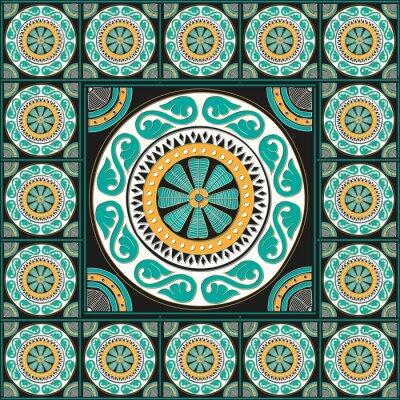 Sticker Design de tuiles romaines bleues