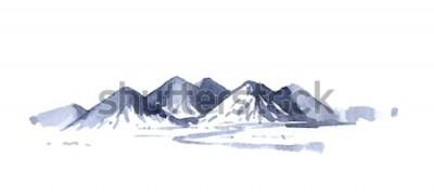 Sticker Dessin à l'aquarelle des montagnes